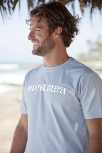 Breathe Deeply, short sleeve, silver blue