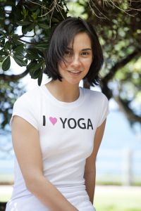 I (Heart) Yoga, short sleeve, white