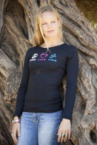 Peace Love Yoga, long sleeve, black