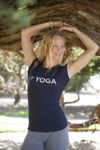 I (Heart) Yoga, short sleeve, navy