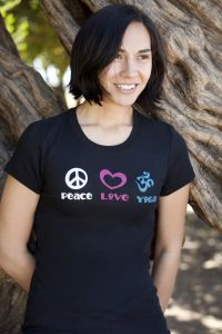 Peace Love Yoga, short sleeve, black