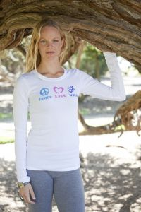 Peace Love Yoga, long sleeve, white